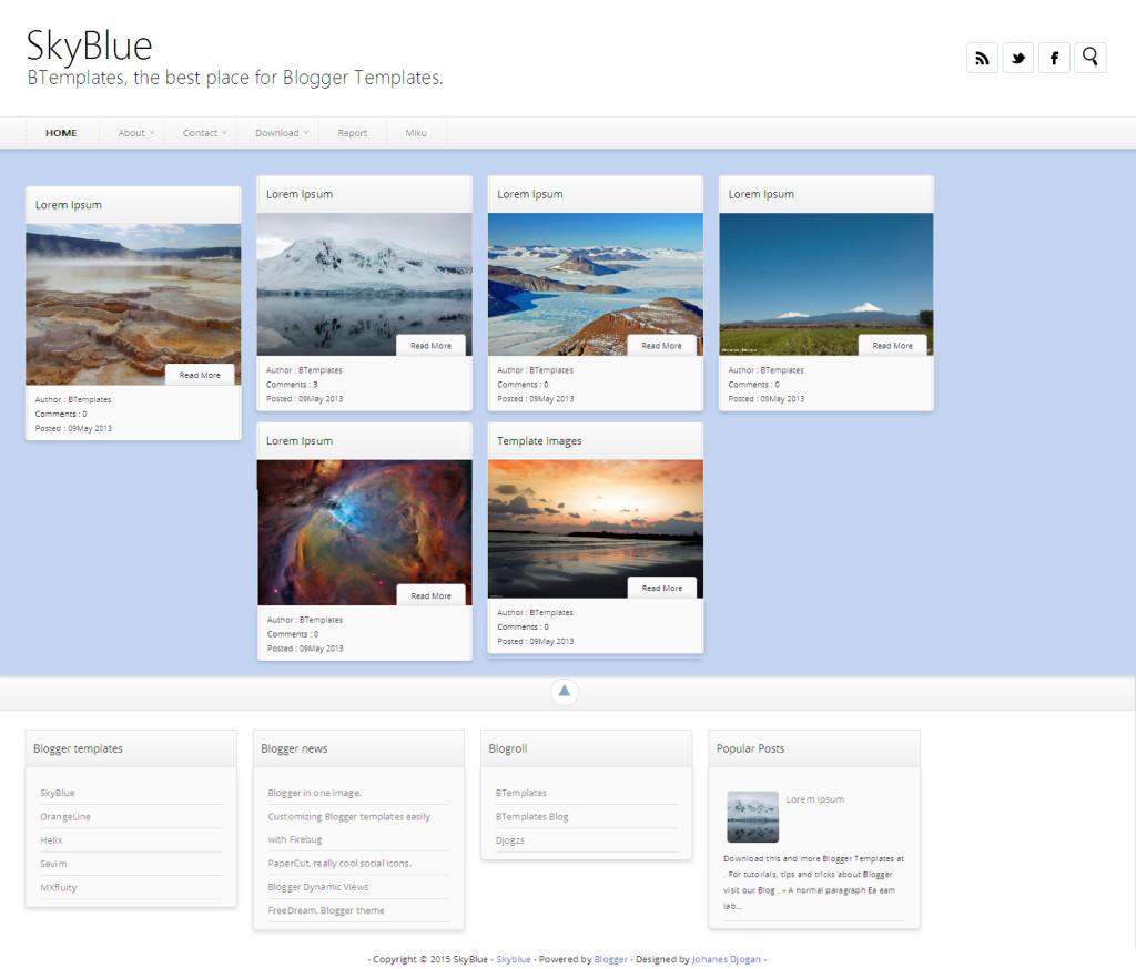 SkyBlue Blogger template