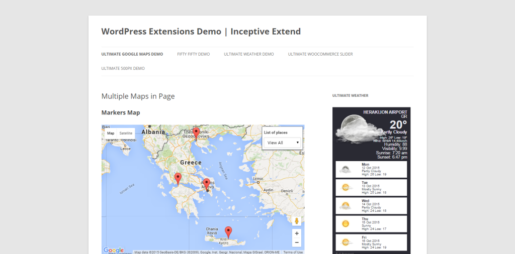 Multiple Maps in Page WordPress Extensions Demo Inceptive Extend