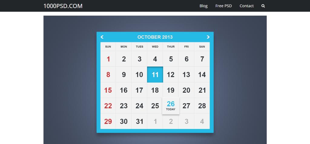 Flat-Calendar-UI
