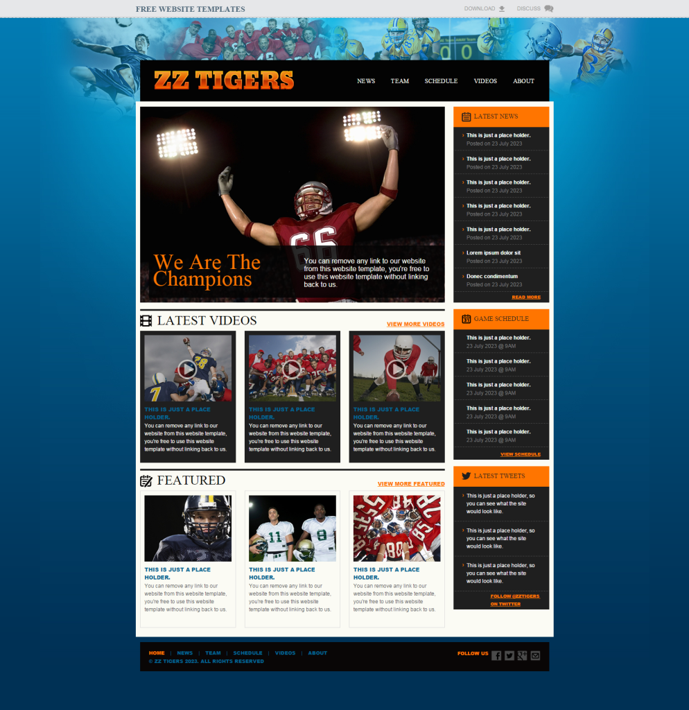 3. Football Website Template